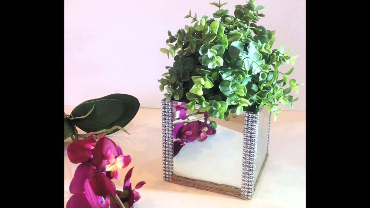 glass vase mirror design home accent decor faux plant jute