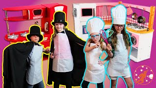 Kids Kitchen 3 - The Girl Chefs, Pretend Cooking Kids Toy Kitchen & The Magician Kids Magic Trick