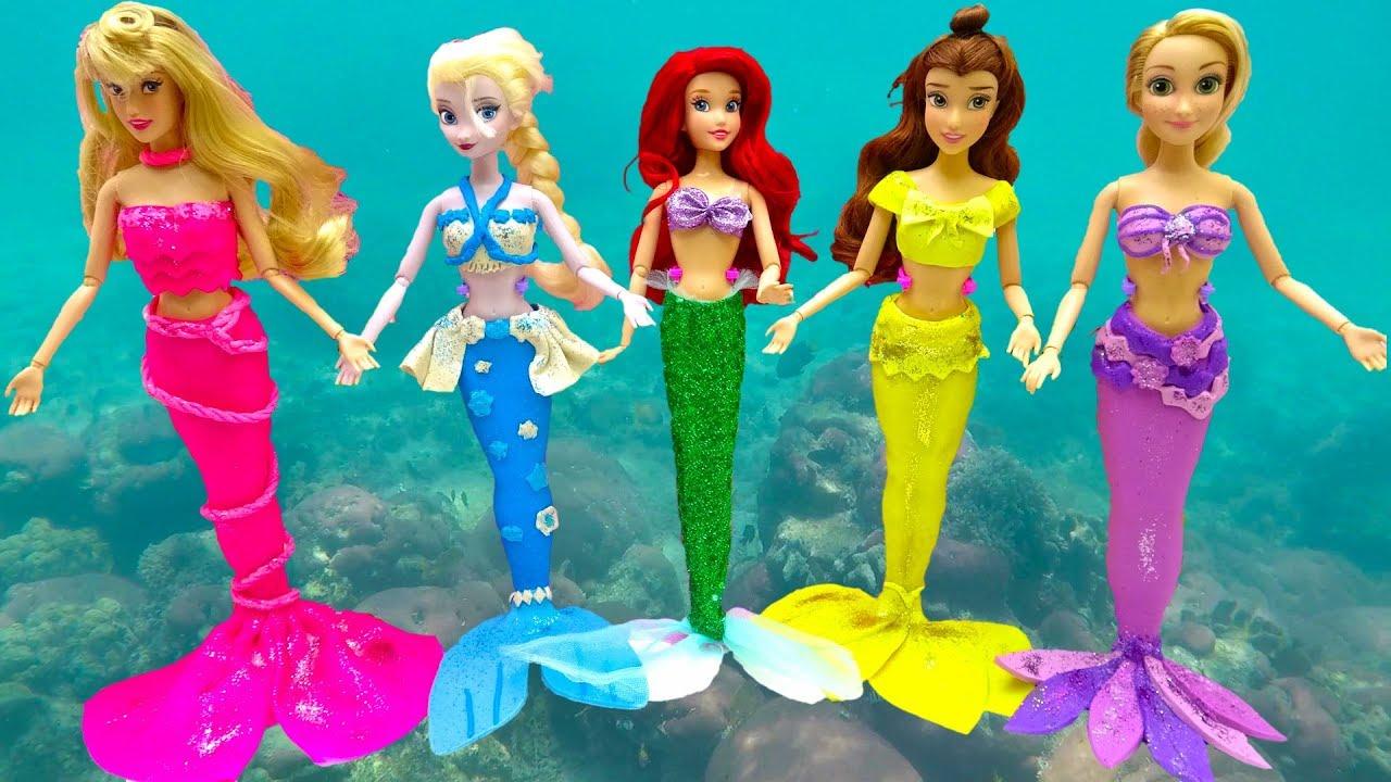 Disney Princess Play Doh Mermaid Costume Dress Up Frozen Rapunzel Belle Aurora Learn Colors With Diy
