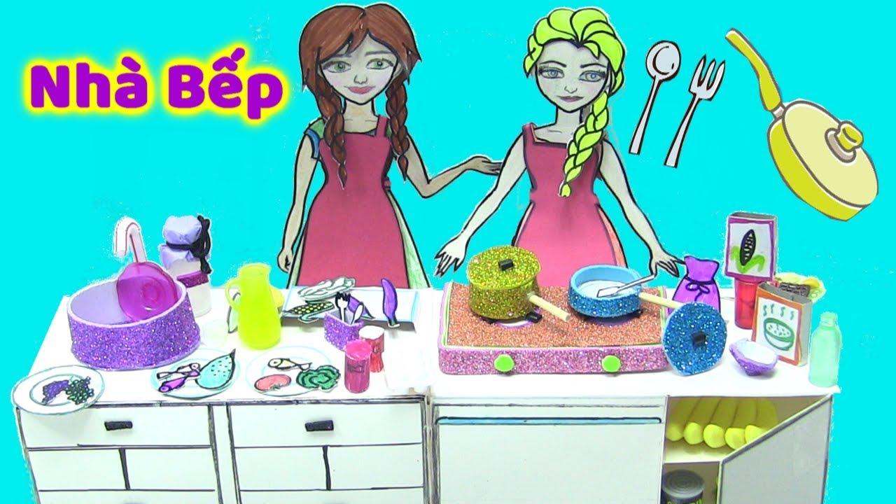 Nhà Bếp Của Búp Bê Giấy Elsa Và Anna – Búp Bê Công Chúa Nấu Ăn – Đồ Chơi Trẻ Em