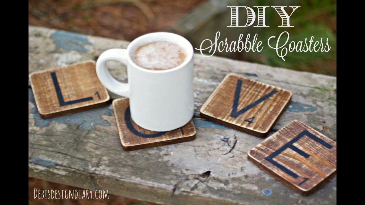 diy weathered wood coasters youtube. Black Bedroom Furniture Sets. Home Design Ideas
