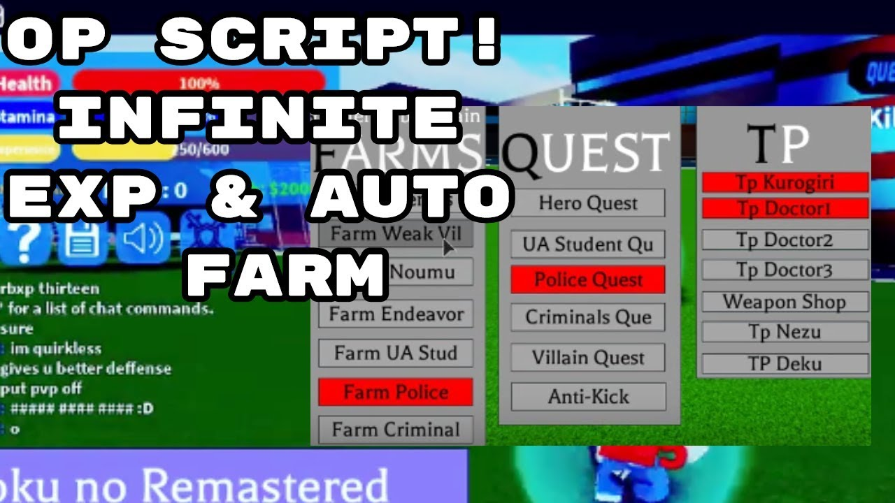 [NEW] Boku no Roblox: Remastered Script INFINITE LVL & EXP ✔️ [PASTEBIN  EXPLOIT]