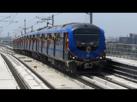 Chennai Metro trains depart and arrive at Alandur shortly after inauguration.