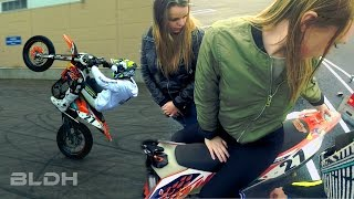 Supermoto stunt meet with curious girls | BLDH
