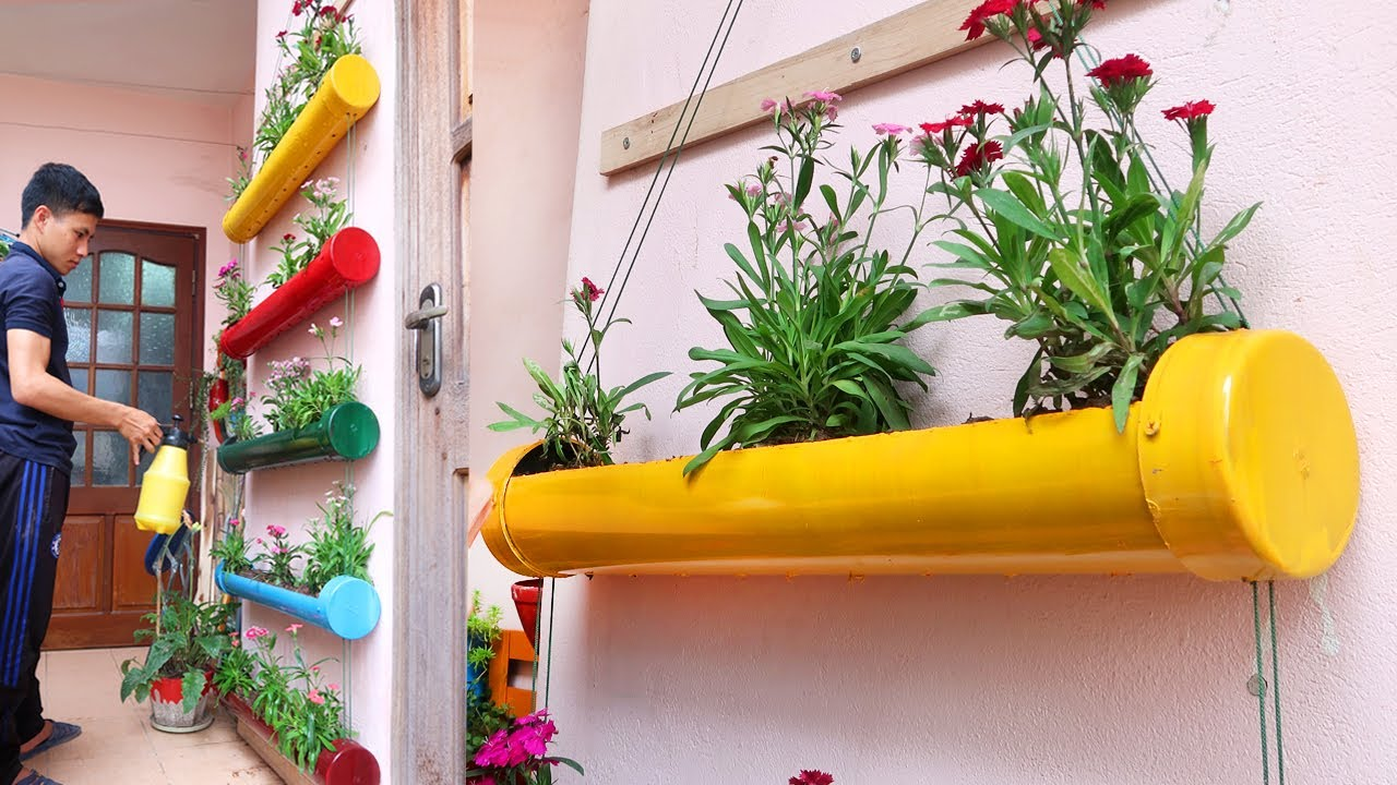 Amazing Diy Vertical Gardens From Plastic Pipes For Small Garden And Balcony Youtube