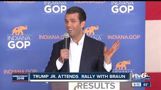 Donald Trump Jr. speaks at rally at Indianapolis Regional Airport in Hancock County