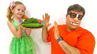 Nastya menyiapkan makanan sehat untuk ayah, kumpulan cerita-cerita lucu
