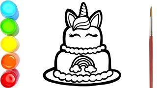 Menggambar Dan Mewarnai Kue Ulang Tahun Unicorn Warna Warni Untuk Anak Anak Youtube