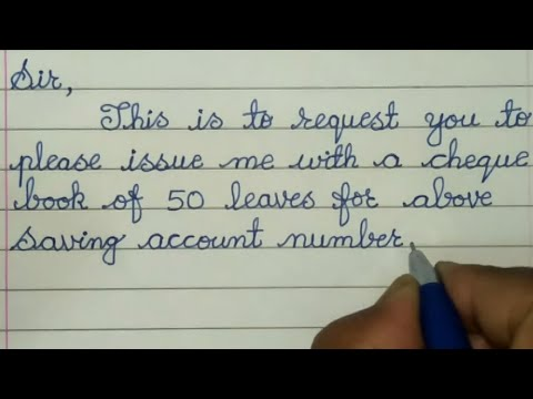 Request For A New Cheque Book Sample Letter  // New Cheque Book Application Letter In English