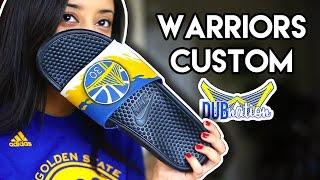 epic lets go warriors custom nike slide angelus paint timelapse