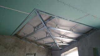 мансарда, потолок из гипсокартона с углами. Plasterboard ceiling.