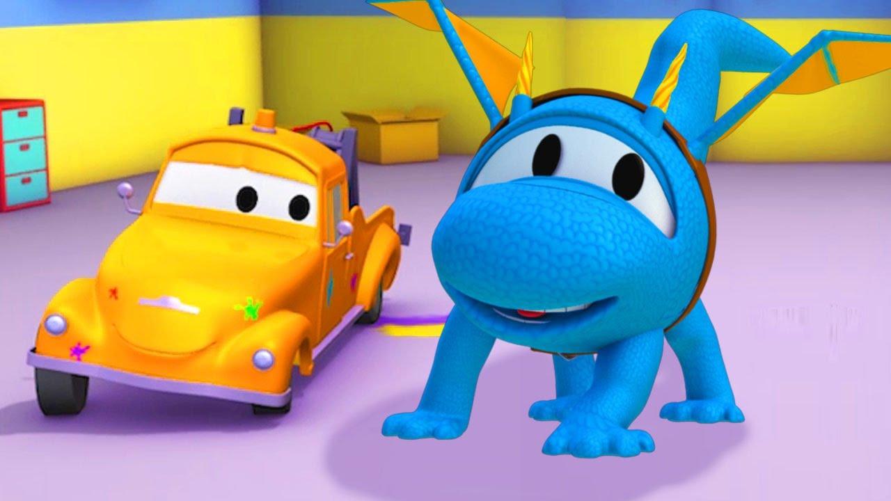 Vopsitoria lui Tom Camionul de tractari:  Dragonul este Hector | Desene cu camioane pentru copii