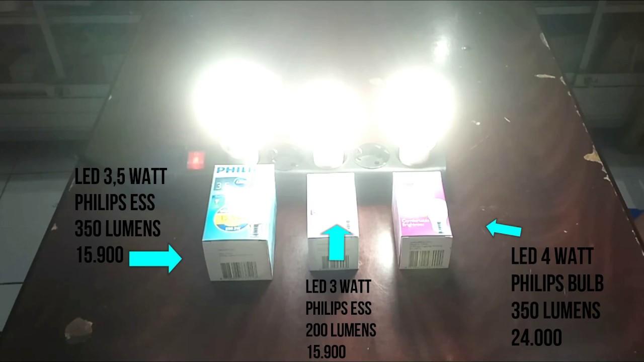 Membandingkan Lampu Led 3 Watt 35 Dan 4 Youtube Philips 8w