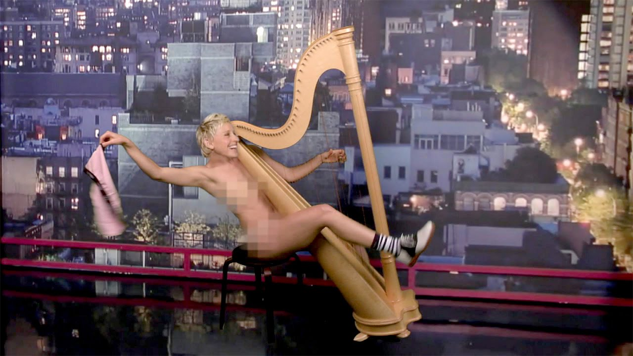 naked girl with harp