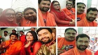 dinesh lal yadav amrapali dubey and manoj tiwari at baba dham post ram lakhan success