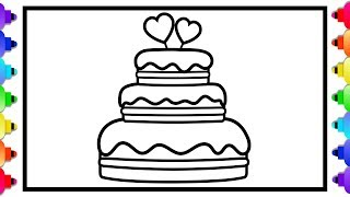💘🍰How to Draw a Cake with Hearts Easy for Kids Step by Step 💘 How to Draw a Cupcake with Hearts