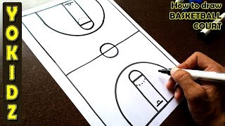 How to draw BASKETBALL COURT