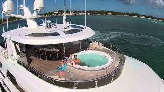 Exterior video footage of Motor Yacht W, 40m Westport, Churchill Yacht Partners