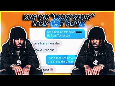 "KING VON ""CRAZY STORY"" LYRIC TEXT PRANK ON HIGH SCHOOL BULLY"