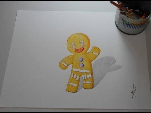 Drawing Ginger biscuit (SHREK)  - Speed drawing