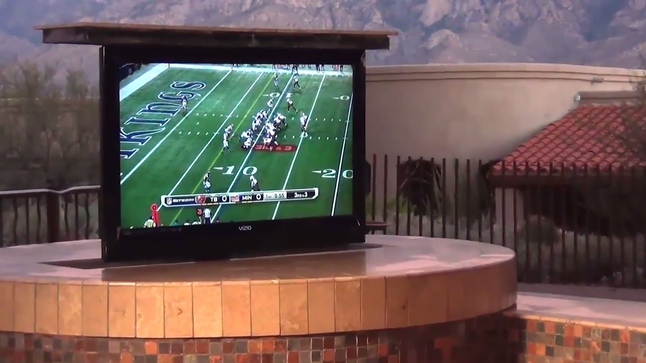pop up tv installed in a backyard bbq youtube