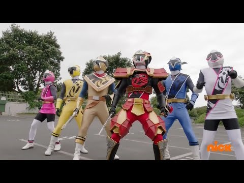"Power Rangers Super Ninja Steel - First Morph and Fight | Episode 1 ""Echoes of Evil"""