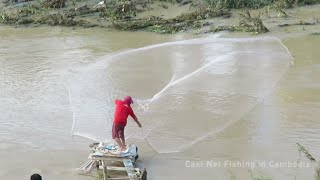 Cast Net in Cambodia | Throw Fishing Net at South West of Cambodia