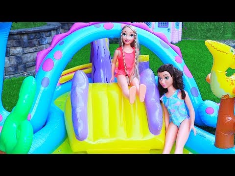 Rapunzel & Belle at the Pool  Toys and Dolls Fun Baby A Sara Pretend Play for Kids  SWTAD