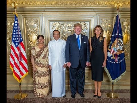 Sri lanka Presidnt With US President Donald Trump and First Lady Melania Trump