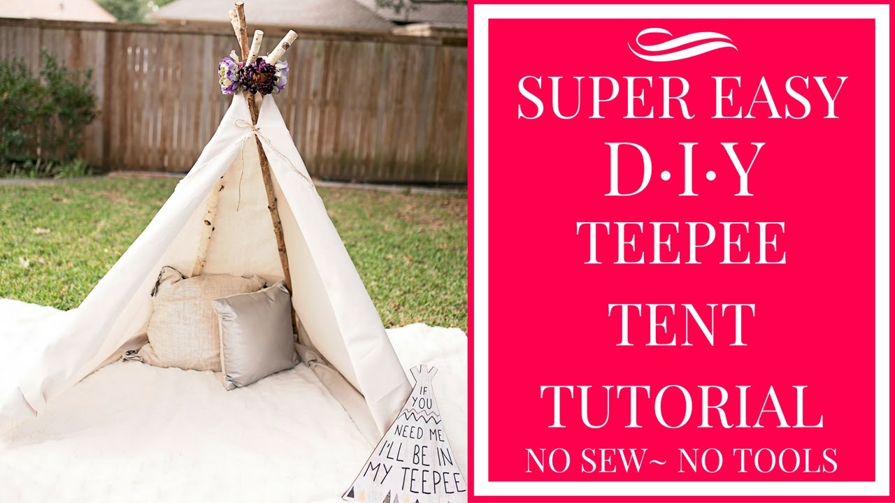 sc 1 st  YouTube & SUPER EASY DIY TEEPEE TENT TUTORIAL- NO SEW~ NO TOOLS! - YouTube