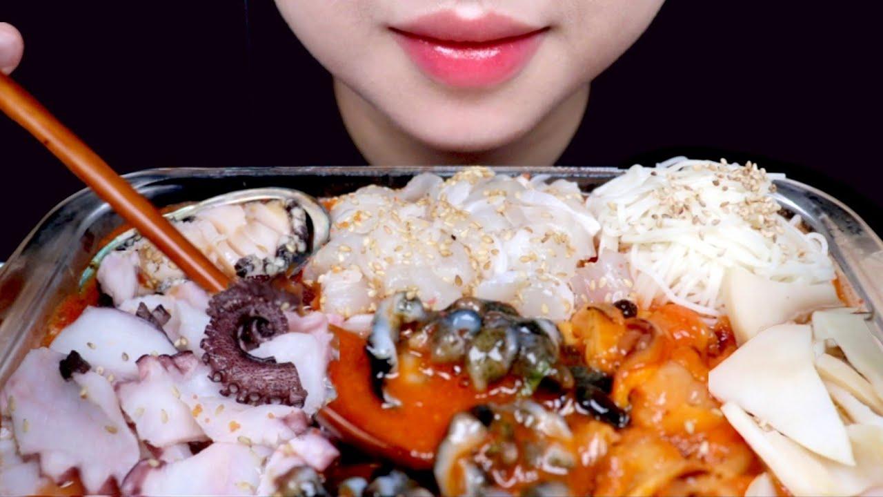 ASMR SEAFOOD RAW FISH COLD SOUP 광어 해산물 리얼사운드 먹방 EATING SOUND MUKBANG