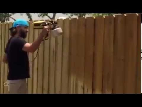 Spraying A Privacy Fence With Water Sealer Youtube