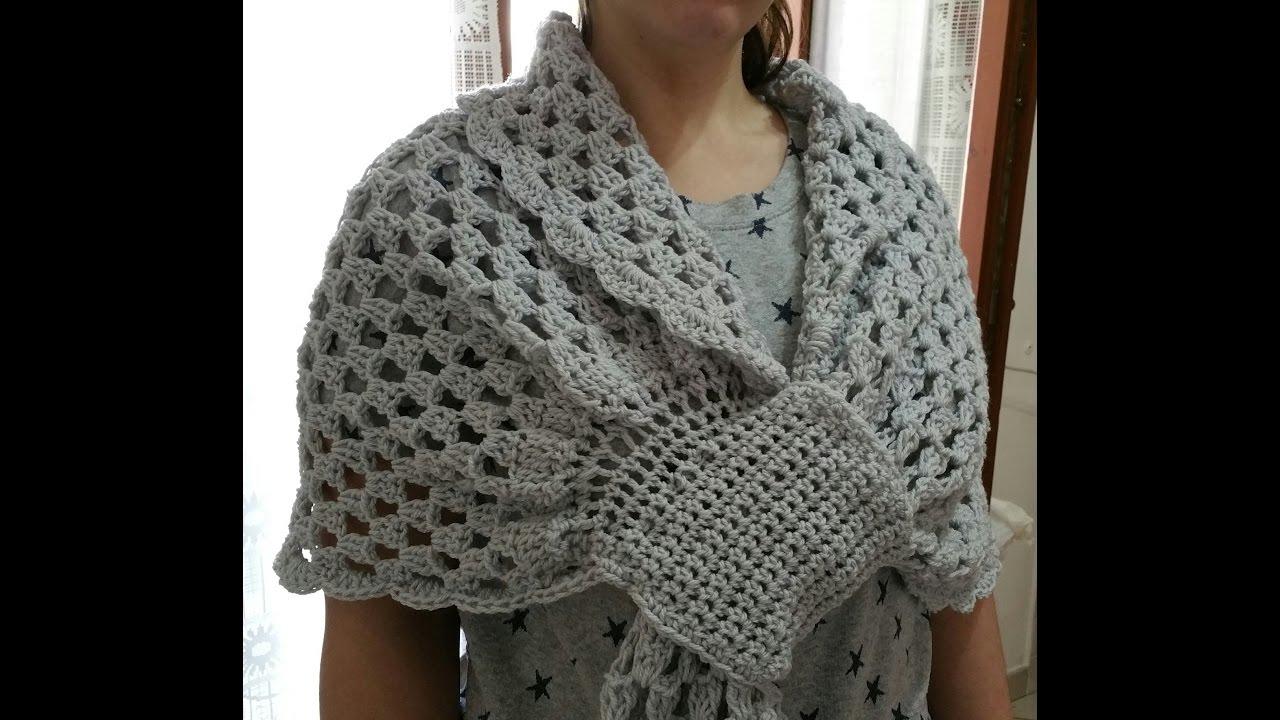 Sciarpone Con Asola Uncinettoshawl Crochet Youtube