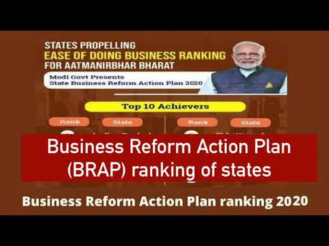 Business Reform Action Plan BRAP ranking 2020 of states