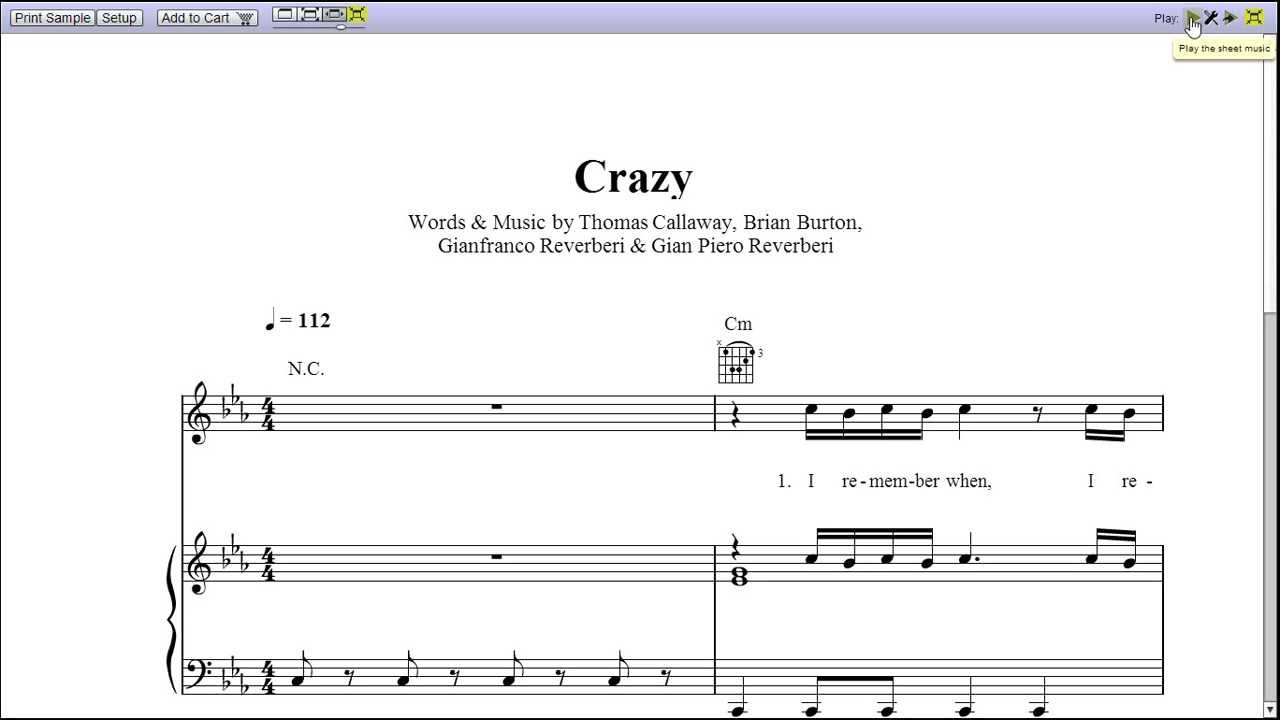 Crazy by gnarls barkley piano sheet music teaser youtube crazy by gnarls barkley piano sheet music teaser hexwebz Image collections