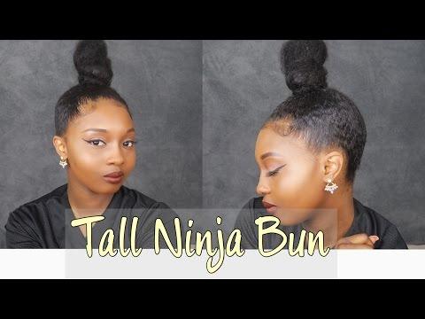 Tall Ninja Bun on Natural Hair!