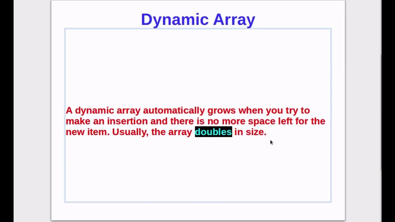 Dynamic array example