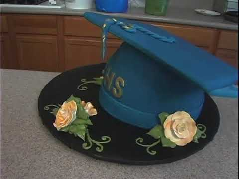 Learn How to Make a Graduation Cap & Tassel Cake Decorating Video Tutorial Part 18