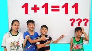 Anak-anak pergi ke sekolah belajar matematika dan melakukan perhitungan | Mainan dan lagu anak-anak