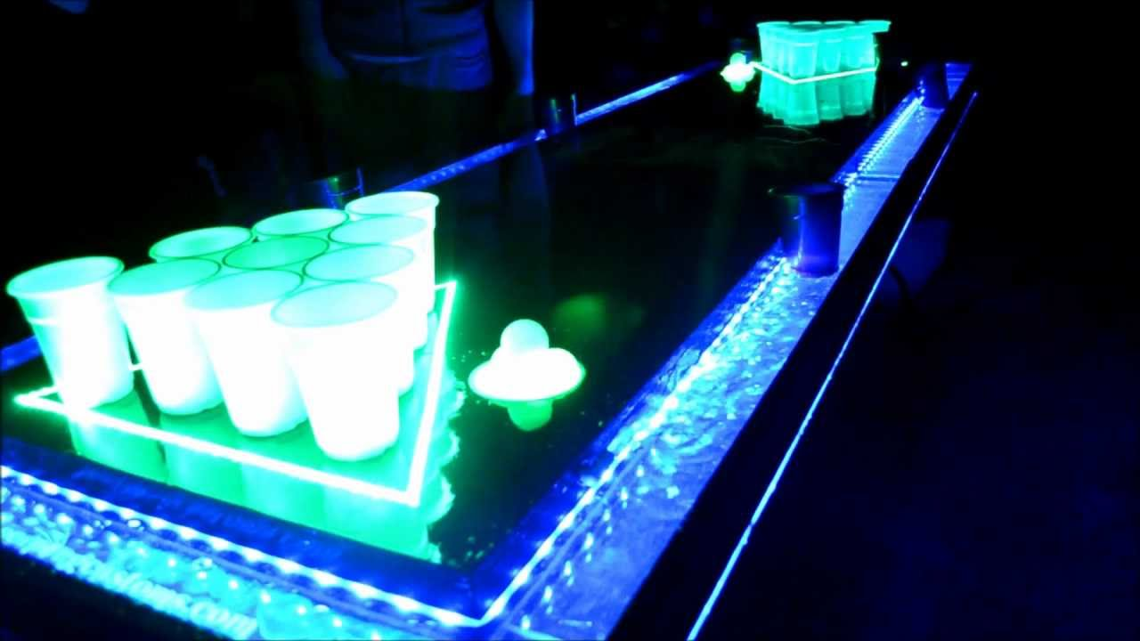 Clear Plexiglas LED Moat Beer Pong Table with Auto Ball