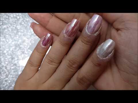 Normal oje ile Chrome tozu uygulama ve kalici oje uygulama anlatimi, Chrome pink nails