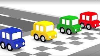 Мультики для детей: 4 машинки устраивают гонки