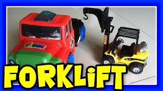 RC Toy Forklift Truck Set, Lifting Hot Wheels Cars And Choo Choo Train Engine