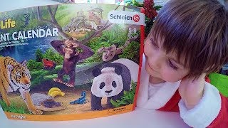Baby Opens Advent Calendar Unboxing Christmas Toys Schleich Animals Advent Calendar 2017