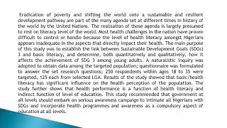 Basic Literacy and Attainment of Good Health and Well Being among Young Adults in Ekiti State, Niger