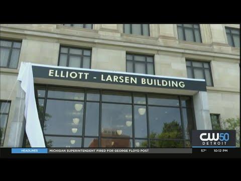 Gov. Whitmer Unveils Sign For Downtown Lansing's Elliott-Larsen Building