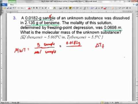 molar mass determination by depression Calculating the molar mass of a solute  the freezing point depression is based on the  how to determine the empirical formula given mass percentages of the .