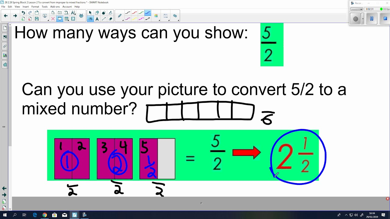 29 1 19 Spring Block 2 Lesson To Convert From Improper Mixed Fractions