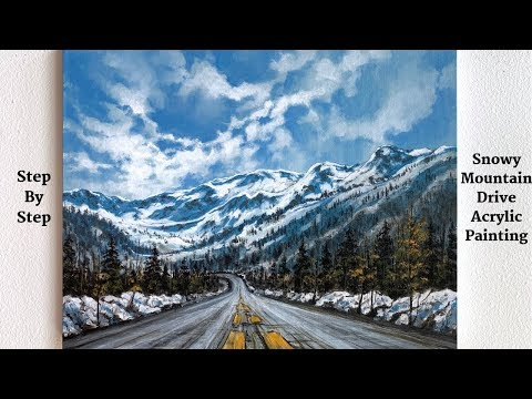 Snowy Mountain Drive STEP by STEP Acrylic Painting (ColorByFeliks)