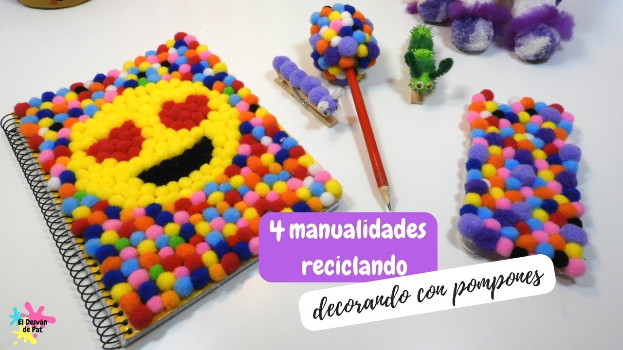 Manualidades faciles 4 manualidades con pompones ideas for Manualidades decorativas para la casa